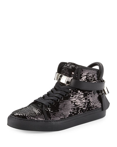 Men's 100mm Sequined High-Top Sneaker, Black