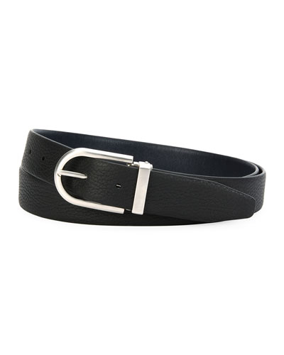 Reversible Calf Leather Belt, Black