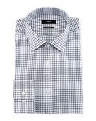 Slim-Fit Tattersall Dress Shirt, Navy/White