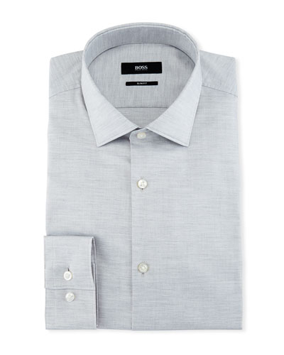 Mélange Slim-Fit Dress Shirt, Light Gray