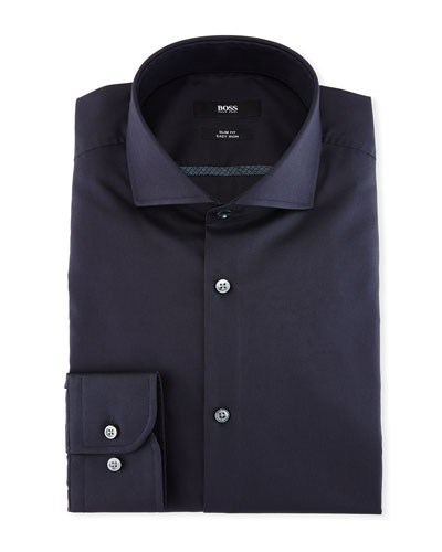 Slim-Fit Easy-Iron Dress Shirt, Navy