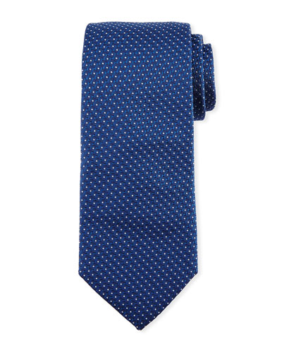 Textured Dot Silk Tie, Light Blue