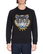 Embroidered Tiger Logo Sweatshirt, Black