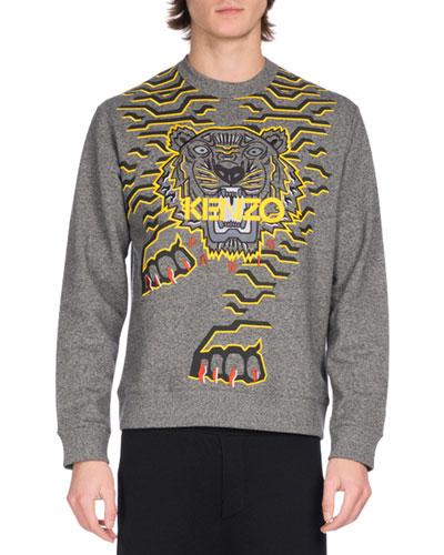Geometric Tiger Logo Sweatshirt, Gray