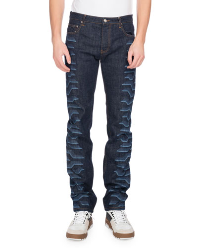 Tiger-Print Straight-Leg Jeans, Navy