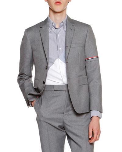 Classic Twill Jacket w/Arm Stripe, Medium Gray