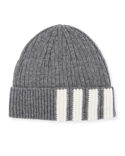 THOM BROWNE CASHMERE BEANIE HAT W  STRIPED-PANEL e3631d3ece7c