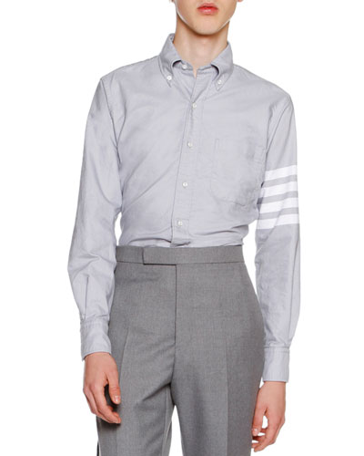 4-Bar Striped Oxford Shirt, Medium Gray