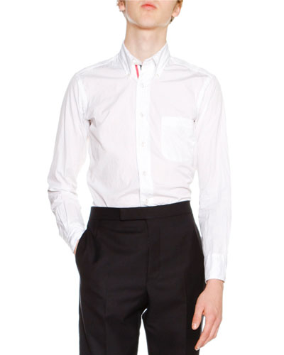 Classic Oxford Shirt with Tricolor Placket, White