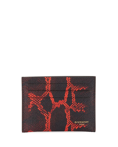 Snakeskin-Print Leather Card Case, Black/Red