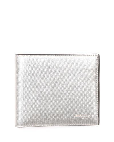 Metallic Leather Bi-Fold Wallet, Silver