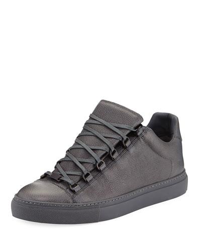 Men's Arena Leather Low-Top Sneaker, Acier