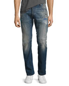 Arc 3D Slim Distressed Patch Jeans, Medium Vintage Blue