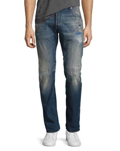 Arc 3D Slim Distressed Patch Jeans, Medium Vintage Blue