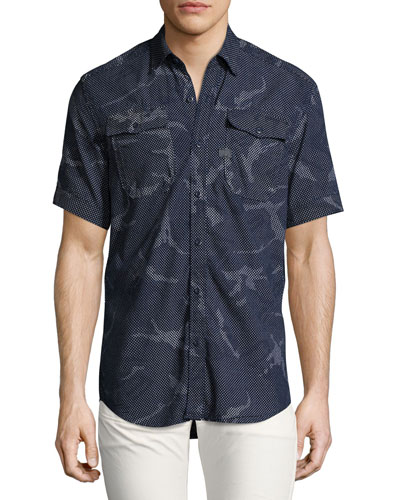 Landoh Camouflage Chambray Short-Sleeve Shirt, Navy