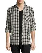 Weston Distressed Plaid Shirt, Black/White