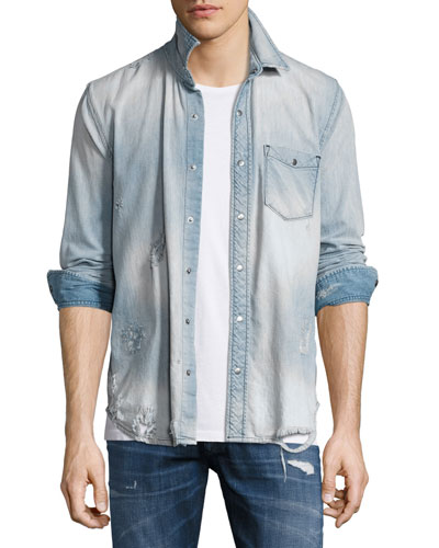 Weston Distressed Denim Shirt, Light Wash