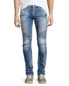 Blinder Biker Distressed Skinny Jeans, Thrash Medium Blue