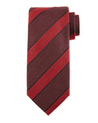 Border-Striped Herringbone Silk-Wool Tie