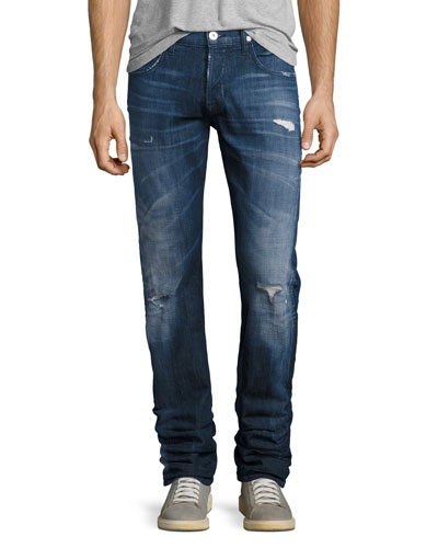 Blake Distressed Slim-Straight Jeans, Medium Blue