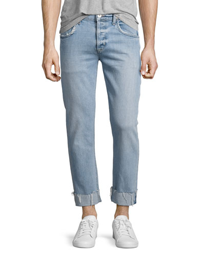 Blake Cropped & Cuffed Slim-Straight Jeans, Light Blue