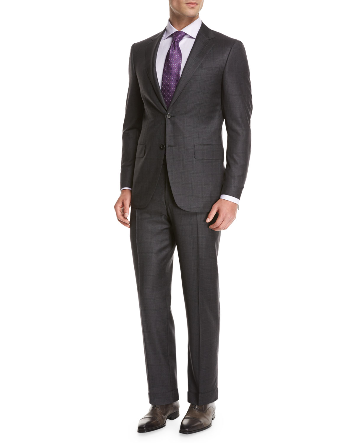 Plaid Super 150s Wool Two-Piece Suit, Gray