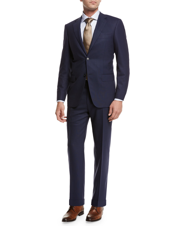 Textured-Stripe Super 140s Impeccabile Wool Two-Piece Suit, Navy Blue
