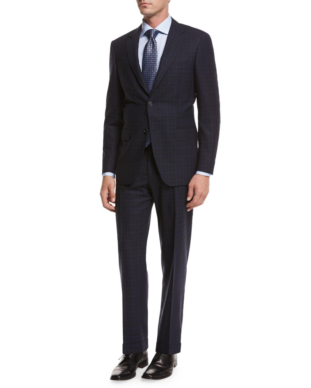 Plaid Super 140s Impeccabile Wool Two-Piece Suit, Gray