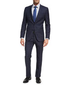 Windowpane Plaid Wool Two-Piece Suit, Denim Blue