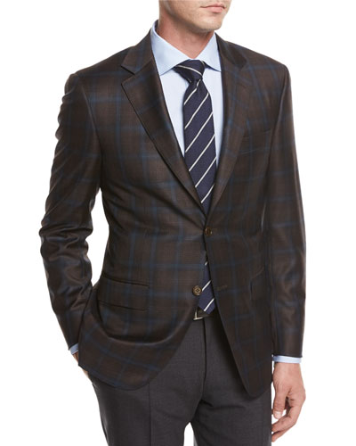 Plaid Super 130s Wool Sport Coat, Brown