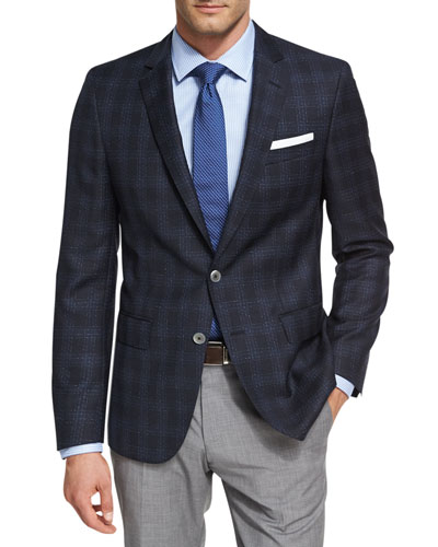 Shadow Windowpane Wool Sport Coat, Navy