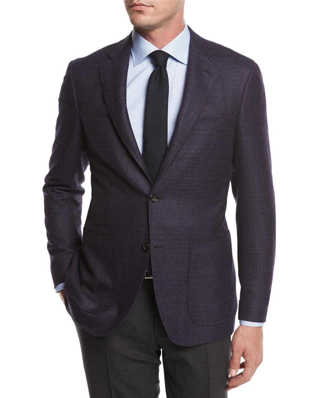 Melange Wool Sport Coat, Navy/Berry