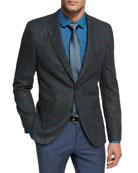 Windowpane Jersey Wool Sport Coat, Charcoal/Teal