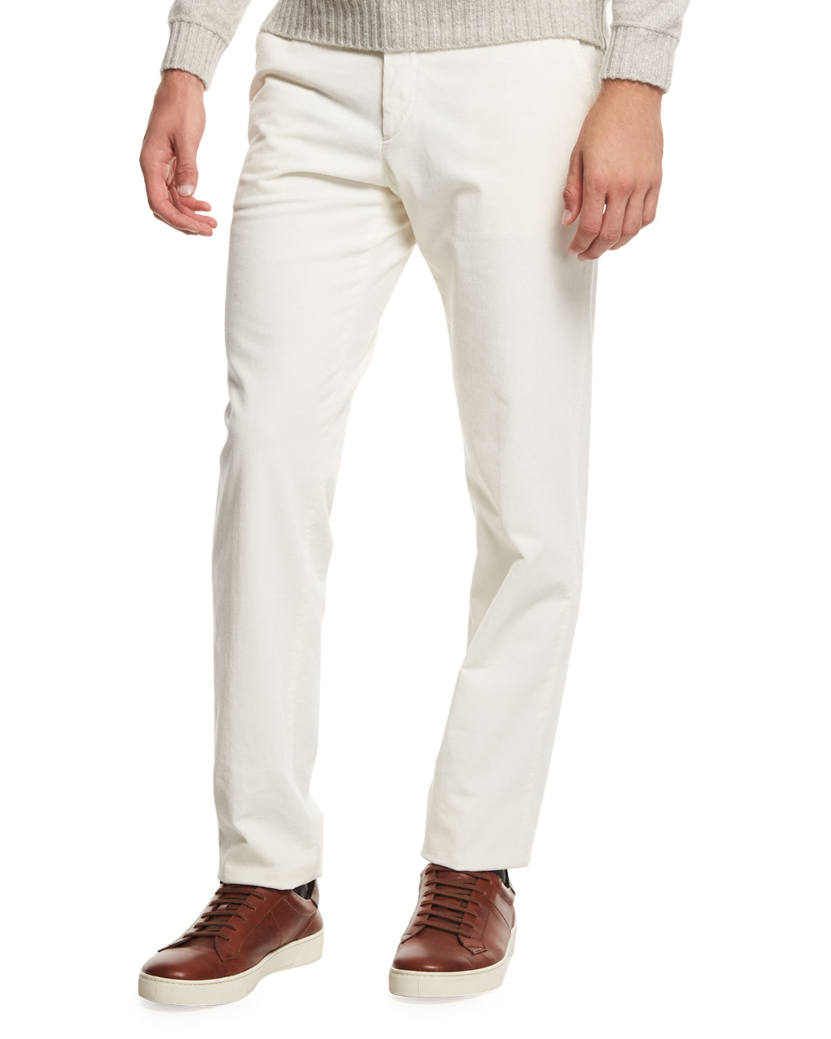 Corduroy Flat-Front Trousers