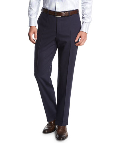 Melange Stretch-Wool Flat-Front Pants, Navy