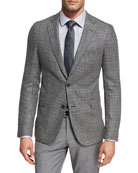 Houndstooth Jersey Wool Sport Coat, Charcoal