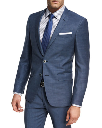 Micro-Check Wool Sport Coat, Light Blue