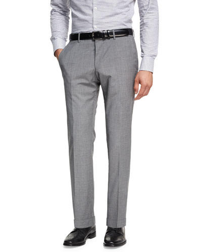 Wool-Cashmere Flat-Front Pants, Light Gray