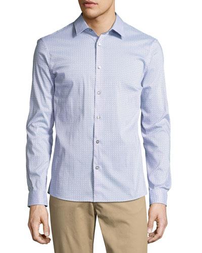 Printed Slim-Fit Stretch Shirt, Blue