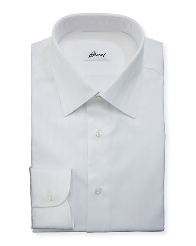 Tonal-Stripe Cotton Dress Shirt, White
