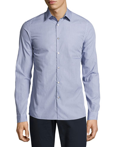 Dot-Print Slim-Fit Stretch Shirt, Navy