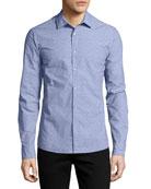 Dobby-Dot Slim Shirt, Blue