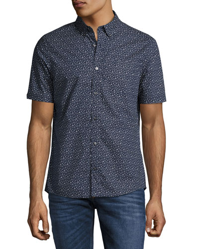 Otis Geo-Print Slim-Fit Short-Sleeve Shirt, Navy