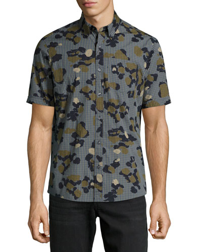 Drake Slim-Fit Camouflage Check Cotton Shirt, Green
