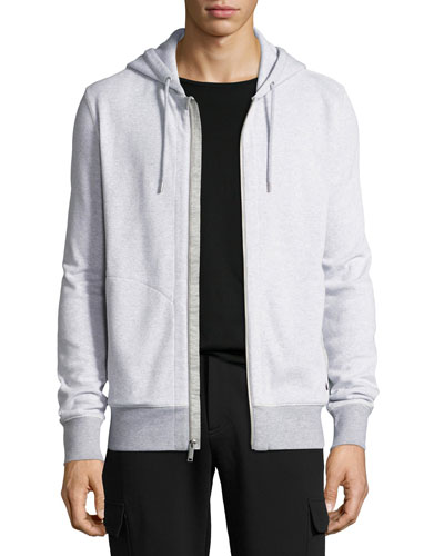 Birdseye Zip-Front Hoodie, Gray