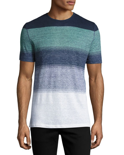 Striped Linen Crewneck T-Shirt, Navy