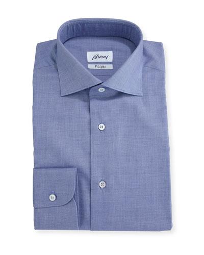 F-Light Sharkskin Dress Shirt, Navy Blue