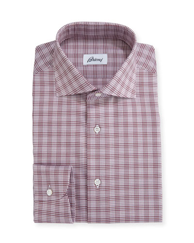 Houndstooth Plaid Dress Shirt, Red