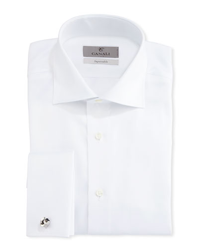 Impeccabile Solid Twill Dress Shirt, White