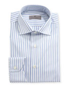 Impeccabile Oxford-Stripe Dress Shirt, White